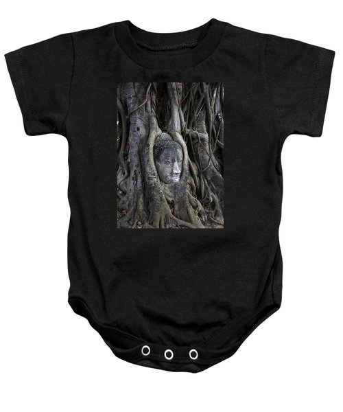 Buddha Head In Tree Baby Onesie