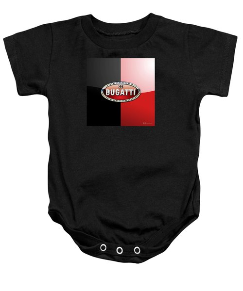 Bugatti 3 D Badge On Red And Black  Baby Onesie