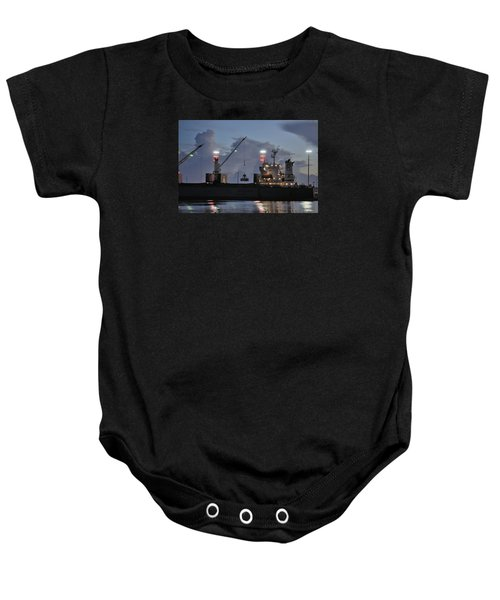 Bulk Cargo Carrier Loading At Dusk Baby Onesie