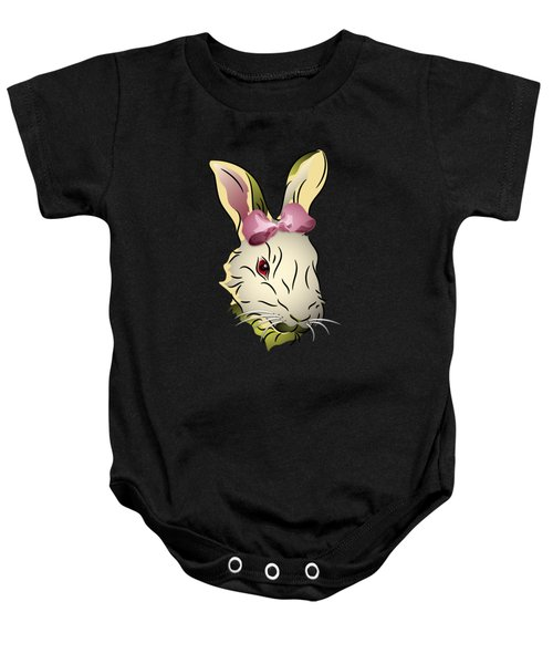 Bunny Rabbit With A Pink Bow Baby Onesie