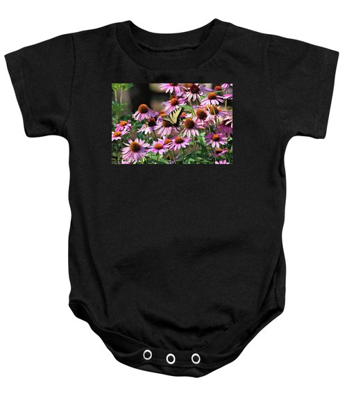Butterfly On Coneflowers Baby Onesie