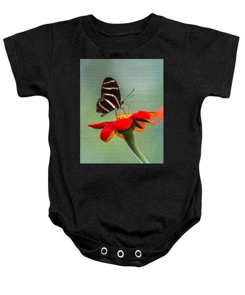 Butterfly Zebra Longwing On Zinnia Baby Onesie