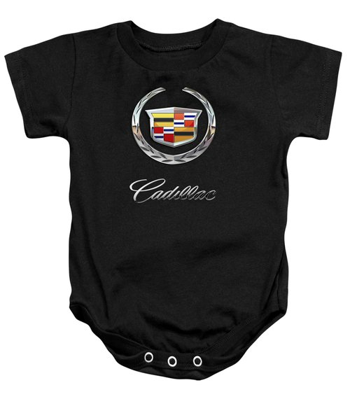 Cadillac - 3 D Badge On Black Baby Onesie by Serge Averbukh