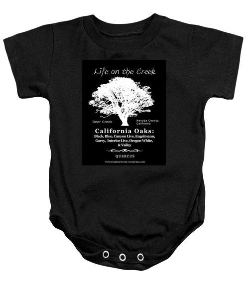 California Oak Trees - White Text Baby Onesie