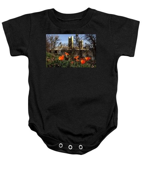 California Poppies With The Slightly Photographically Blurred Sacramento Tower Bridge In The Back Baby Onesie