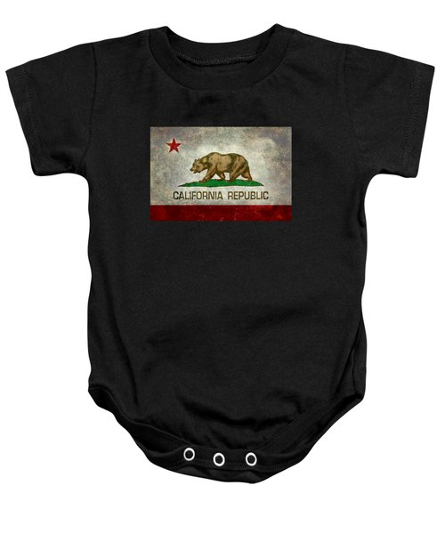 California Republic State Flag Retro Style Baby Onesie by Bruce Stanfield