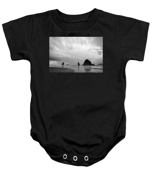 Cannon Beach In Black And White Baby Onesie