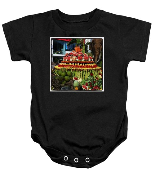 Baby Onesie featuring the photograph Carved Watermelon, Surin Elephant by Mr Photojimsf