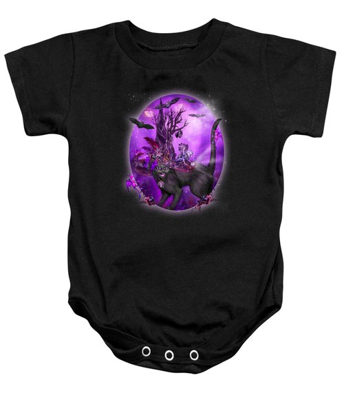 Cat In Goth Witch Hat Baby Onesie