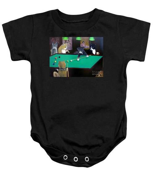 Cats Playing Pool Baby Onesie