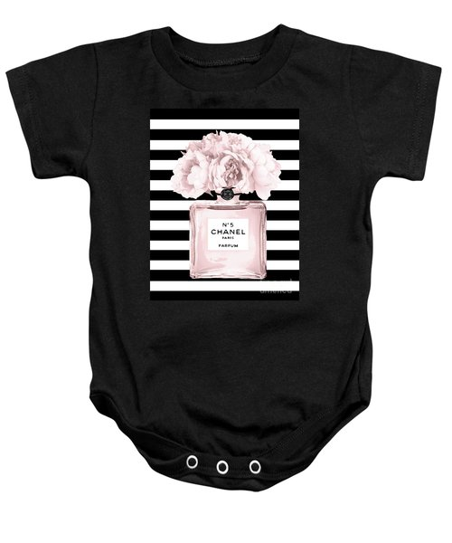Chanel N.5, Black And White Stripes Baby Onesie