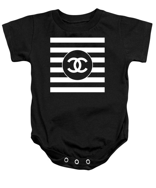 Chanel - Stripe Pattern - Black And White 2 - Fashion And Lifestyle Baby Onesie