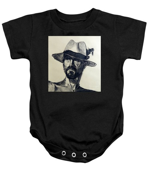 Charcoal Portrait Of A Man Wearing A Summer Hat Baby Onesie