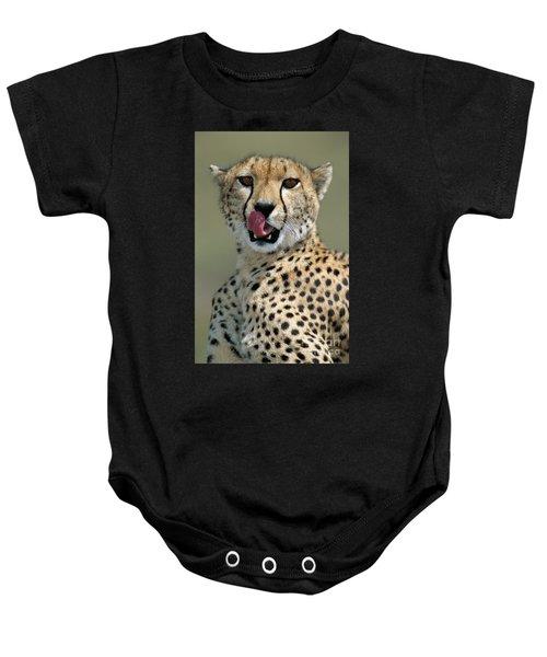 Cheetah Licking  Baby Onesie