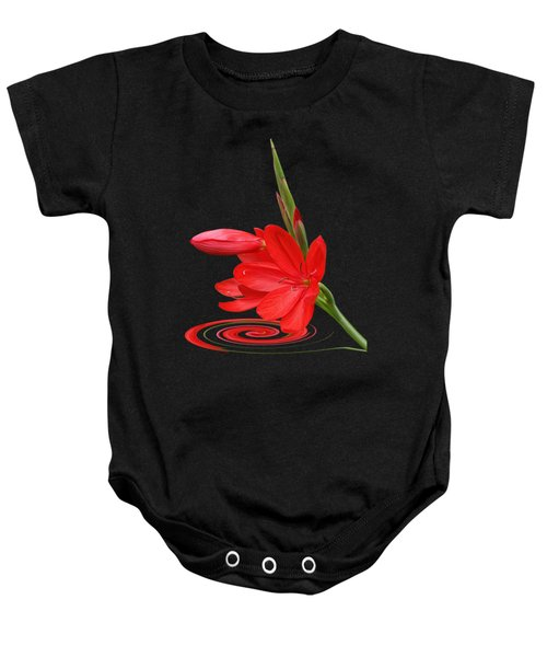 Chic - Ritzy Red Lily Baby Onesie by Gill Billington