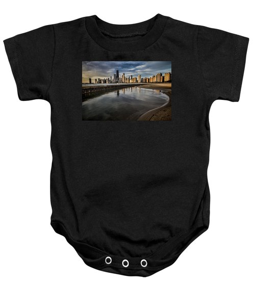 Chicago Beach And Skyline With A Person For Scale Baby Onesie