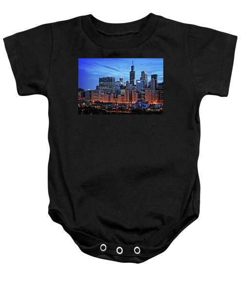 Chicago At Night Baby Onesie