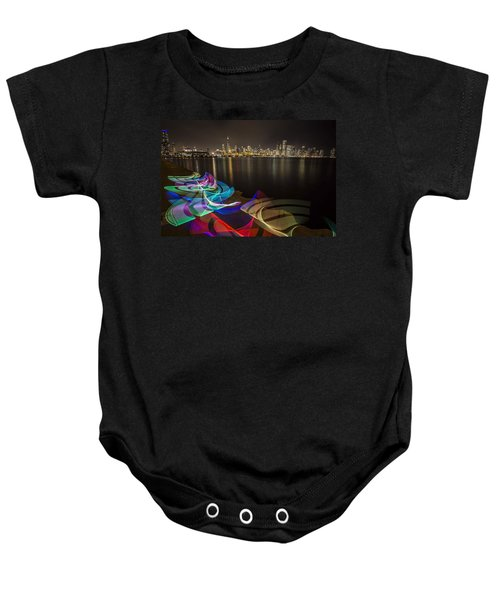 Chicago Skyline With Pixel Stick Painting Baby Onesie