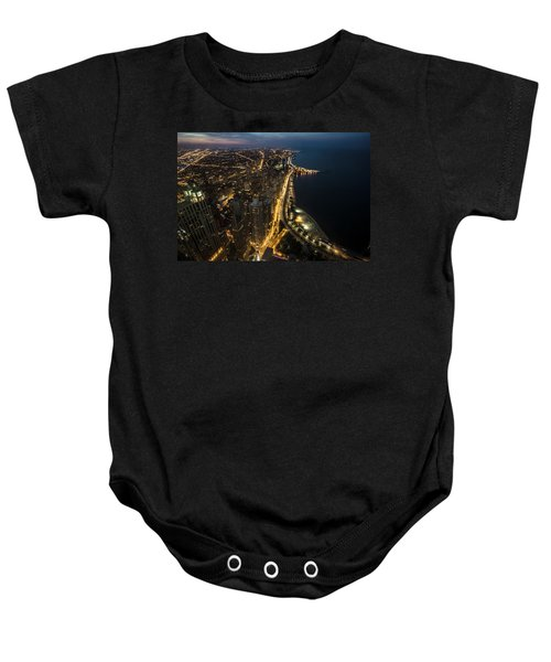 Chicago's North Side From Above At Night  Baby Onesie