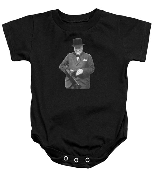 Churchill Posing With A Tommy Gun Baby Onesie by War Is Hell Store