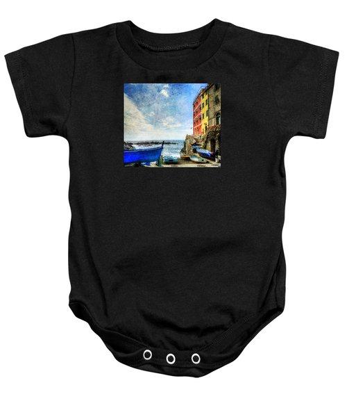 Cinque Terre - Little Port Of Riomaggiore - Vintage Version Baby Onesie
