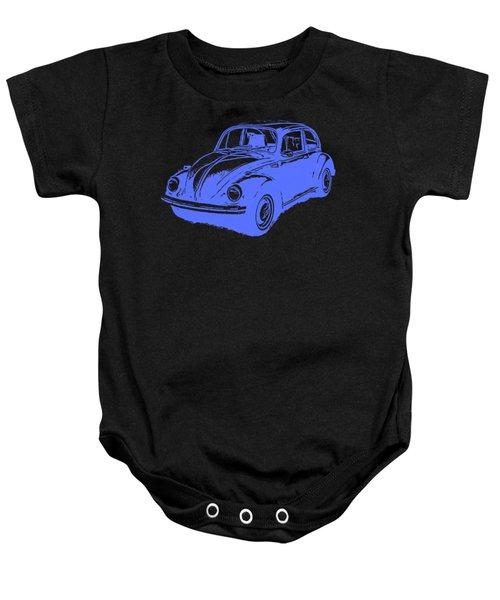 Classic Vw Beetle Tee Blue Ink Baby Onesie