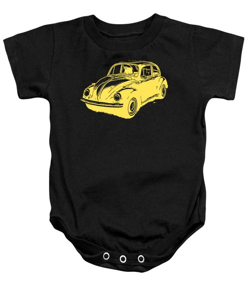 Classic Vw Beetle Tee Yellow Ink Baby Onesie by Edward Fielding