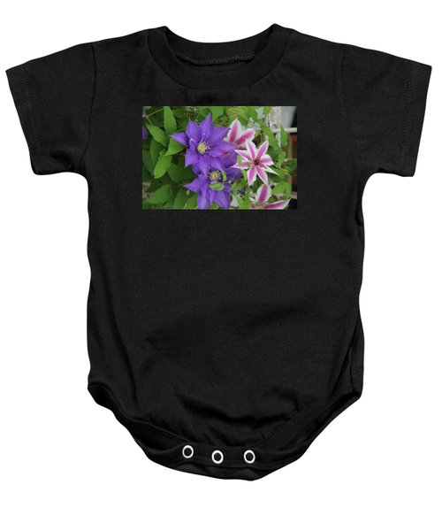 Clematis Purple And Pink White Baby Onesie