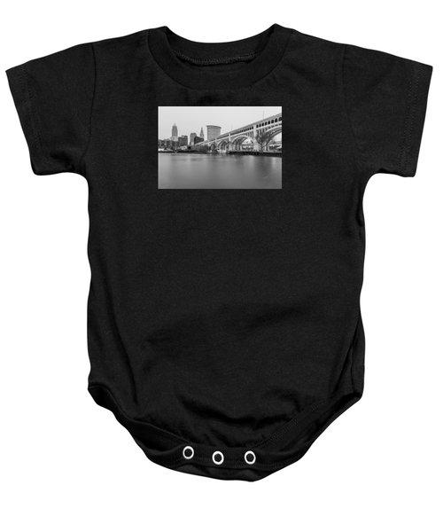 Cleveland Skyline In Black And White  Baby Onesie