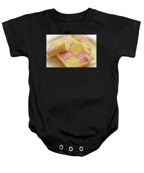 Close Up Of Battenberg Cake E Baby Onesie