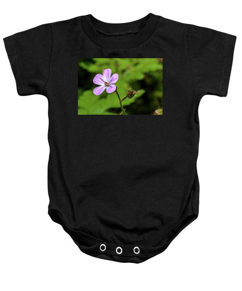 Close Up Of Shining Cranesbill A Baby Onesie