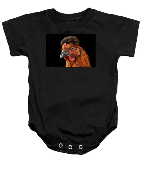 Closeup Ginger Chicken Isolated On Black Background In Profile View Baby Onesie