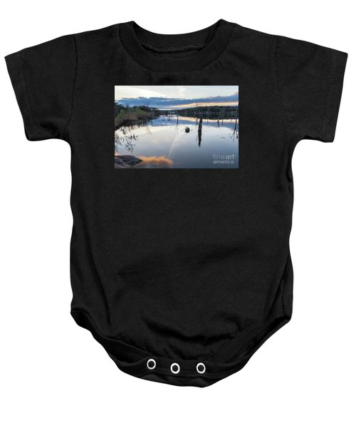 Clouds Reflecting On Large Lake During Sunset Baby Onesie