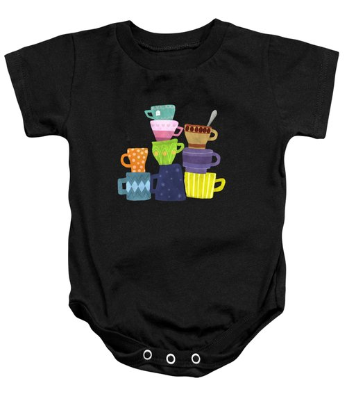 Coffee And Tea Cups And Mugs Stacked High  Baby Onesie