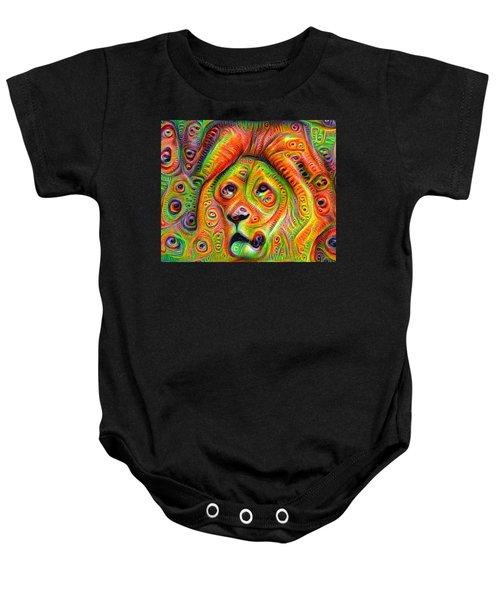Colorful Crazy Lion Deep Dream Baby Onesie