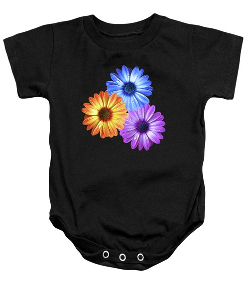 Colorful Daisies With Water Drops On Black Baby Onesie
