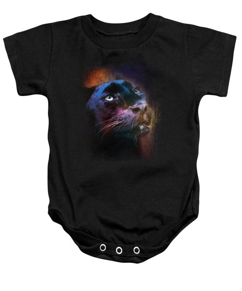 Colorful Expressions Black Leopard Baby Onesie by Jai Johnson