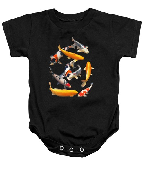 Colorful Japanese Koi Vertical Baby Onesie by Gill Billington
