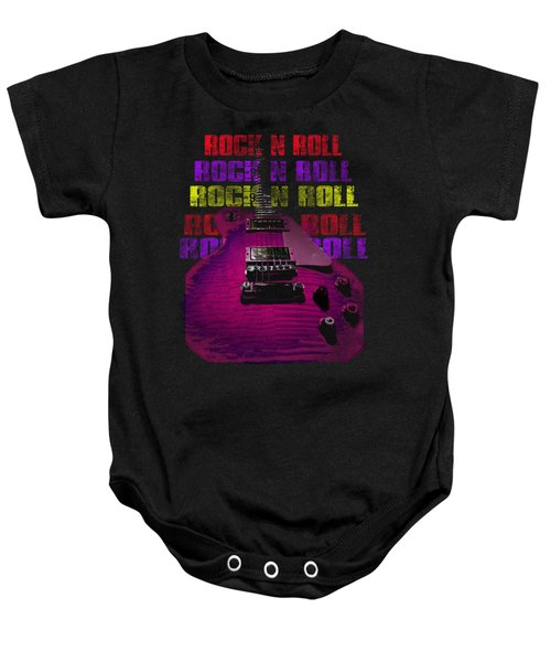 Baby Onesie featuring the photograph Colorful Music Rock N Roll Guitar Retro Distressed T-shirt by Guitar Wacky