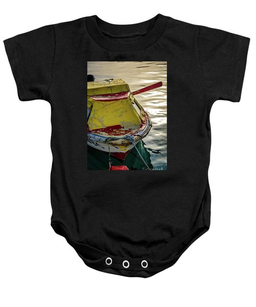 Colorful Old Red And Yellow Boat During Golden Hour In Croatia Baby Onesie