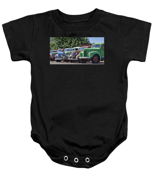Colorful Old Rusty Cars Baby Onesie