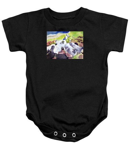 Colorful Waiting Sheep Baby Onesie