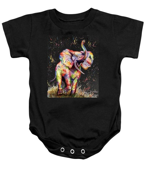 Baby Onesie featuring the painting Colorful Watercolor Elephant by Georgeta Blanaru