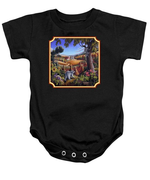 Coon Gap Holler Country Landscape - Square Format Baby Onesie by Walt Curlee