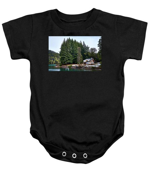 Little Cottage And Pines In The Argentine Patagonia Baby Onesie