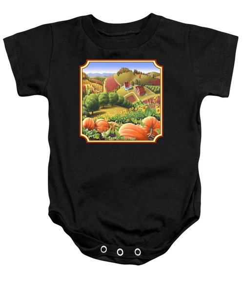 Country Landscape - Appalachian Pumpkin Patch - Country Farm Life - Square Format Baby Onesie