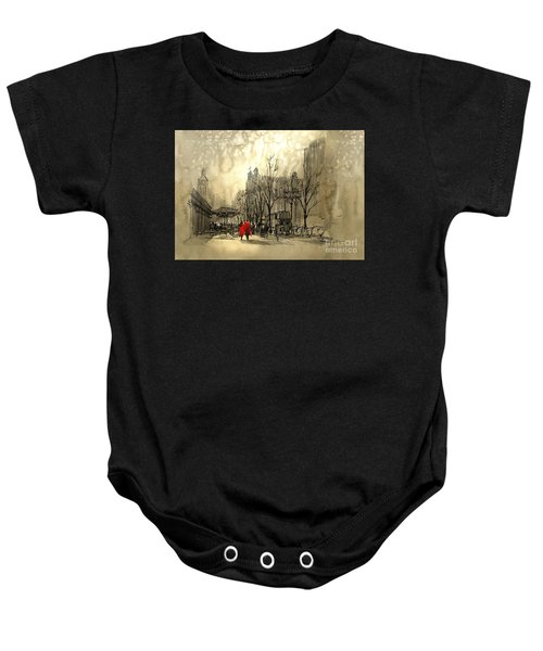 Baby Onesie featuring the painting Couple In City by Tithi Luadthong