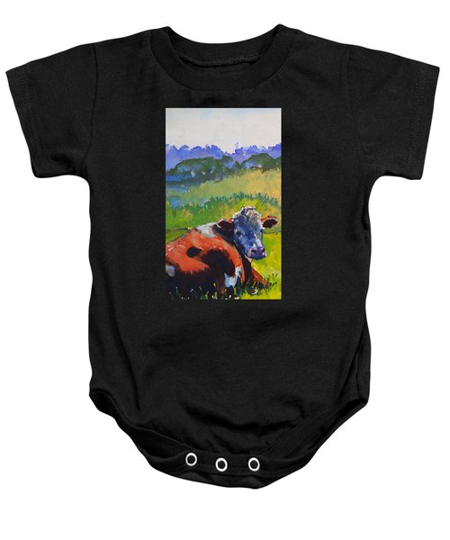 Cow Lying Down On A Sunny Day Baby Onesie
