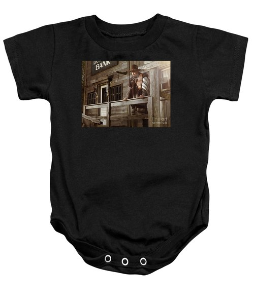 Cowboy Waiting Outside Of A Bank Building Baby Onesie