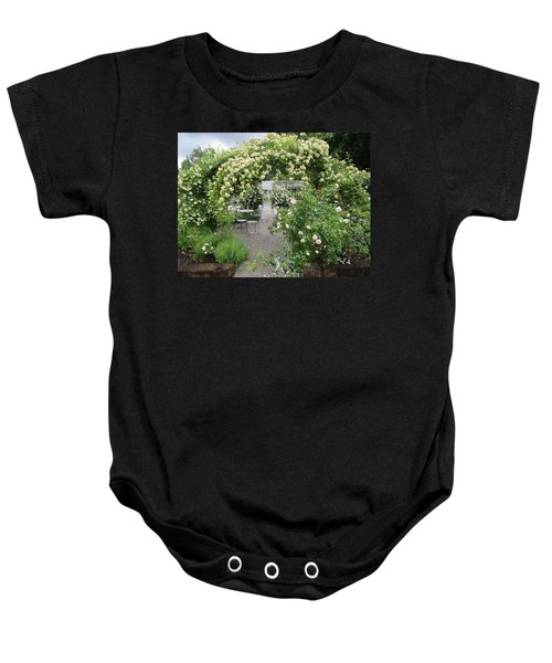 Cream-colored Roses With Your Coffee Baby Onesie